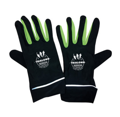 CA50-gants polyester noir reflechissant marquage personnalisable